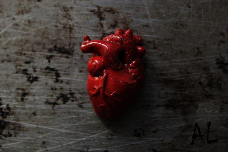 Реалистичное человеческое сердце.  Полимерная глина, пастель, лак.