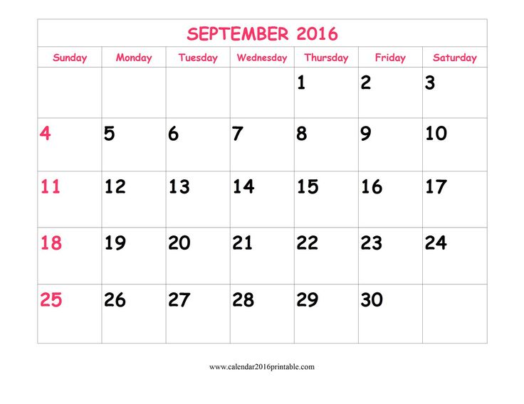 Cute September 2016 Calendar, free to download and print.