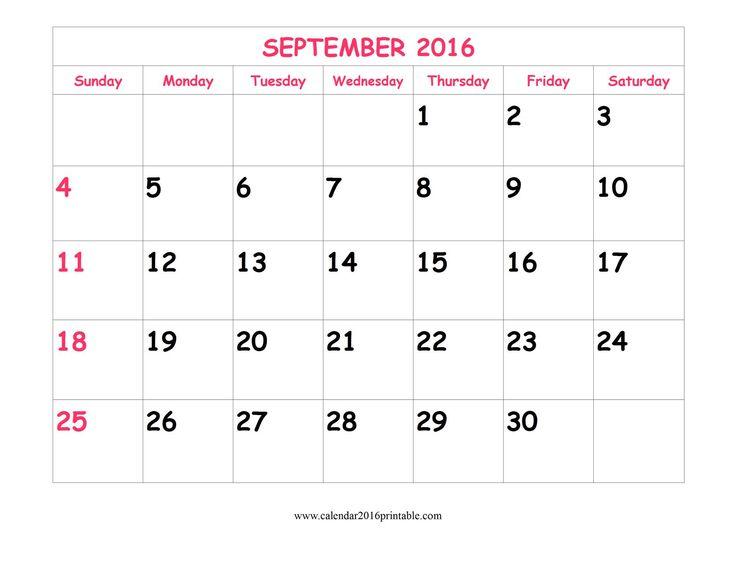 2016 calendar free september sep 2016 2016 calendar printable calendar ...