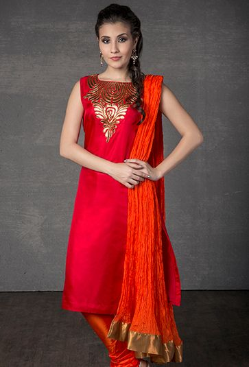 Silk kurta churidar embellished with leather applique work
