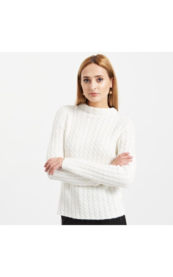 Sweter o grubym splocie, NOWOŚCI, kremowy, RESERVED