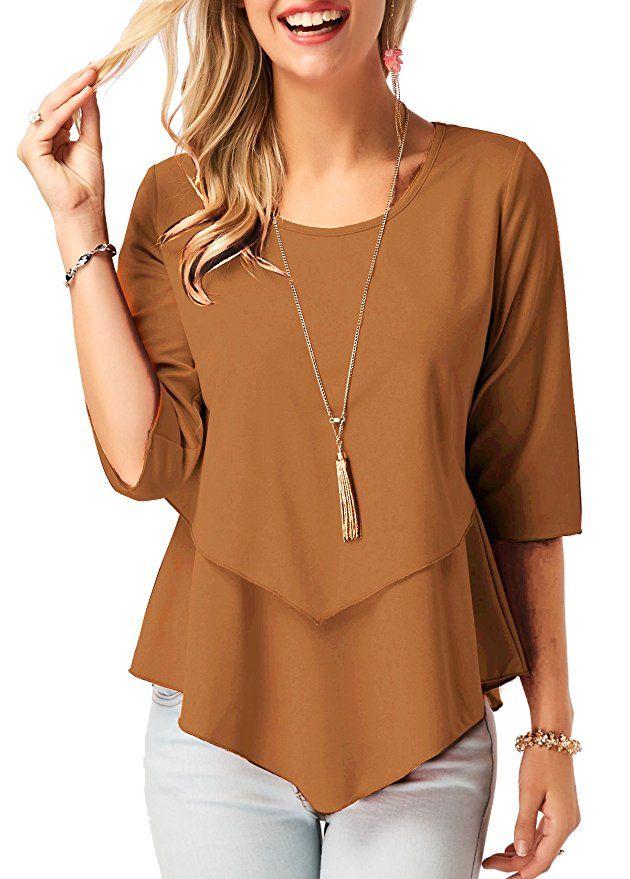 NEW Womens Hi-Low Tunic Scoop Neck Shirt Large Top Black Gray Stripe 3//4 Sleeve