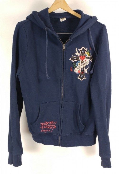 26.42$  Buy here - http://visic.justgood.pw/vig/item.php?t=xuki1w335610 - Don Ed Hardy Design Hooded Zipper Sweatshirt L HOODIE Cross Encrusted Jewel Blue 26.42$