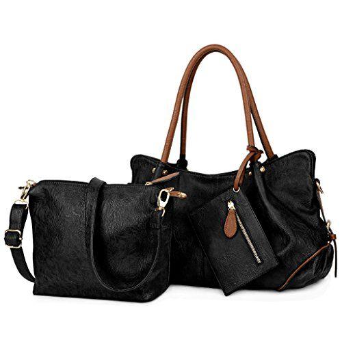 UTO Women Handbag Set 3 Pieces Bag PU Leather Tote Small Shoulder Purse Bags Wallet Strap Black