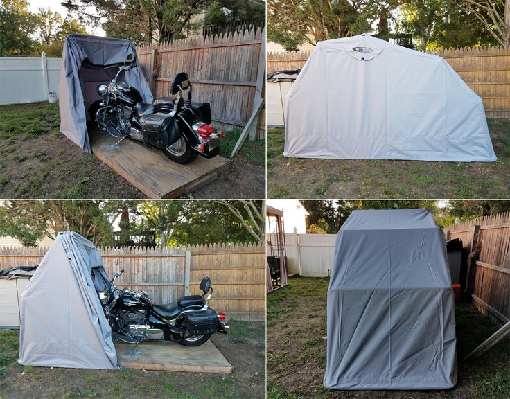 The Bike Shield is an easy and self-enclosing motorcycle storage / shelter / garage / cover unit, keeping your motorbike protected against any external damage such as rain, dust, harmful sunlight and so on.