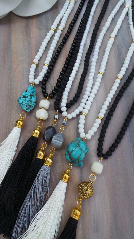 Long black beaded tassel necklace with by AllAboutEveCreations