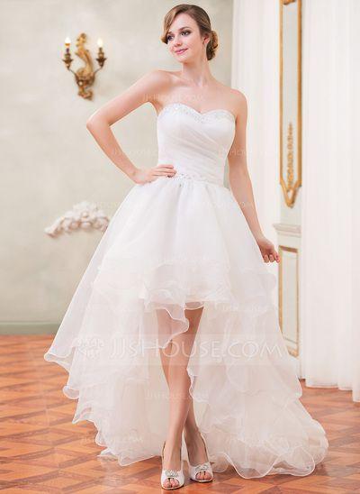 Wedding Dresses - $199.99 - A-Line/Princess Sweetheart Asymmetrical Organza Wedding Dress With Ruffle Beading Sequins (002031874) http://jjshouse.com/A-Line-Princess-Sweetheart-Asymmetrical-Organza-Wedding-Dress-With-Ruffle-Beading-Sequins-002031874-g31874