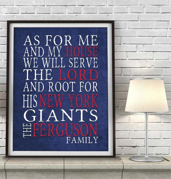 """New York Giants football inspired Personalized Customized Art Print- """"As for Me"""" Parody- Unframed Print"""