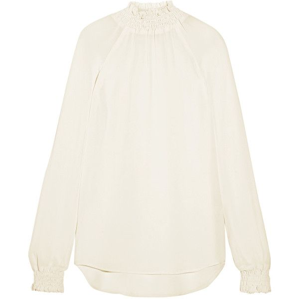 Reformation Smocked georgette blouse ($185) ❤ liked on Polyvore featuring tops, blouses, white, smock top, georgette blouse, loose white top, loose tops and cut loose tops