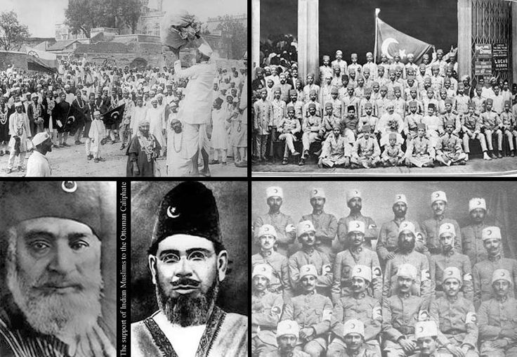 The Khilafat movement (1919–1924) was a pan-Islamic, political protest campaign launched by Muslims in British India to influence the British government and to protect the Ottoman Empire during the aftermath of World War I. It won the support of Mahatma Gandhi and the predominantly Hindu Congress movement because of its anti-British overtones; however, Arabs saw it as threat of continuation of Turkish dominance of Arab lands. Bottom (L) Maulana Shaukat Ali & Maulana Muhammad Ali Johar.