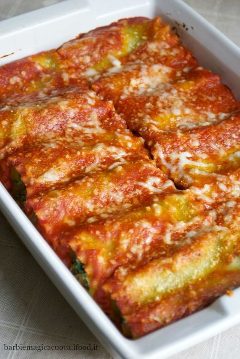 rotolini di lasagne ricotta e spinaci