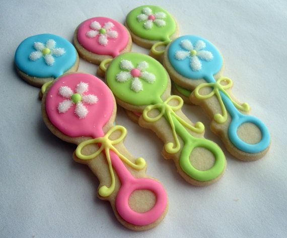 DAISY BABY RATTLE Sugar Cookie Party Favors 1 by sugarandflour, $30.00