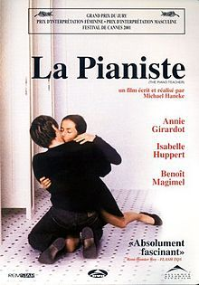 La Pianiste (2001) dir. Michael Haneke.  A bitter, middle aged piano teacher, who has an unhealthy co-dependent relationship with her mother, fills her free time with depraved, masochistic acts such as fantasizing about rape, slicing at her own genitals with a razor and smelling the semen-soaked tissues in peepshow boxes while outwardly portraying an uptight, prude and cold demeanor to the world. She meets a young, talented student and the two begin a bizarre love affair.