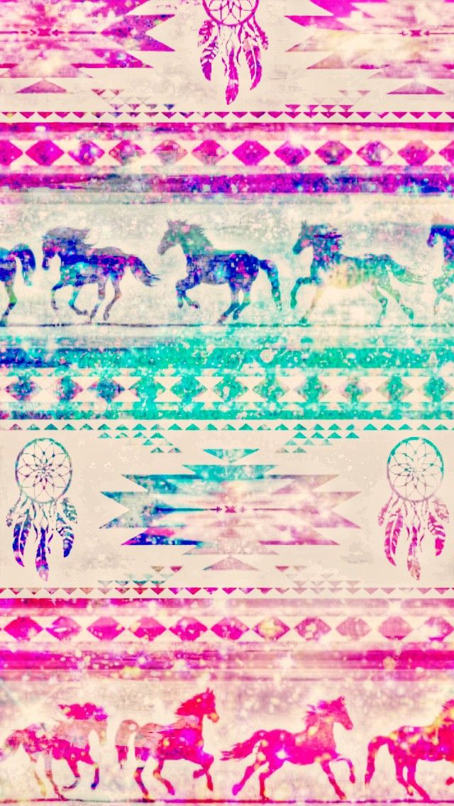 Wild Horses Galaxy Pattern Made By Me Patterns Blue Glitter