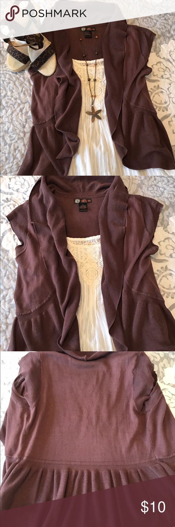 Short sleeve cardigan Brown short sleeve ruffle cardigan •NO trades, thanks for looking. jj basics Sweaters Shrugs & Ponchos