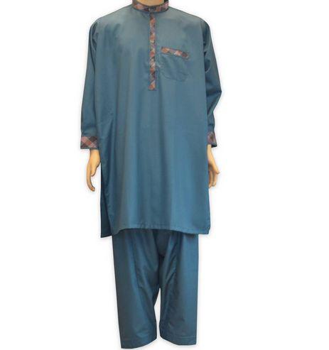 Islamische Kleidung Männer, Startseite Salwar Kameez Herren Petrol Mit Stickerei, Kleid Kostüm Blau Farbe Ist Sehr Ansprechend Mit Karierten Akzente, Es Ist Billig