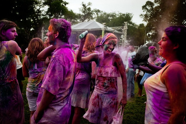 Dutch students celebrate the Holi at Independence Square.    Credit: Tomas Munita for The New York Times