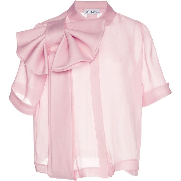 Dice Kayek Bow Front Top ($1,395) ❤ liked on Polyvore featuring tops, blouses, pink, silk blouse, silk bow blouse, pink silk blouse, relaxed fit tops and pink silk top