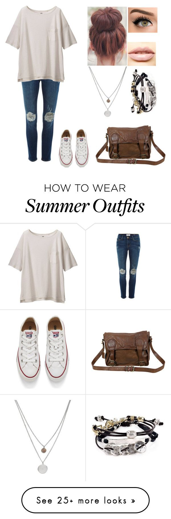 lazy day outfit. by kerryhere on Polyvore featuring Frame Denim, Uniqlo, Converse, LASplash, Kenneth Cole, Robert Lee Morris, VIPARO, womens clothing, womens fashion and women •Pinterest: Angelica Infante Angelica Infante•