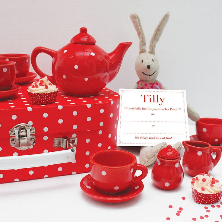 dotty tea set with personalised invitations by birdyhome | notonthehighstreet.com
