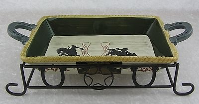 $60.00  Kohls Sonoma Happy Trails Western Cowboy Rectangle Casserole Serving Dish + Rack