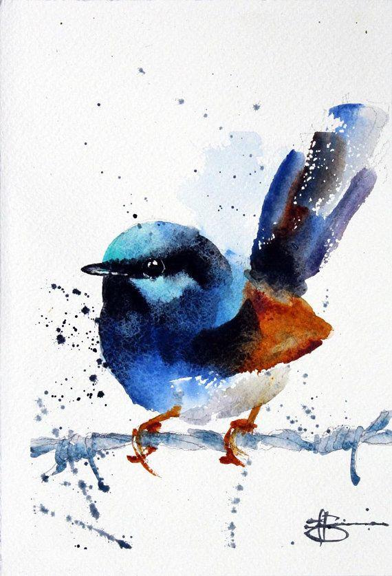 Fairy Wren Watercolour Giclee Print Australian Blue Wren Bird