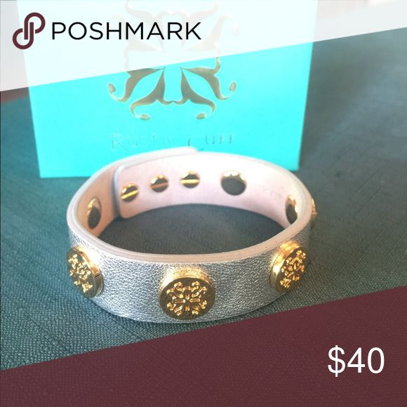 Rustic Cuff Silver with gold hard ware wrap. Genuine leather. Peg closure. Excellent condition Rustic Cuff Jewelry Bracelets