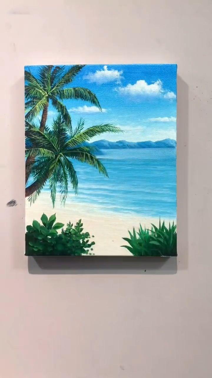 Canvas Painting Tutorials, Diy Canvas Art, Acrylic Painting Canvas, Diy Painting, Ocean Paintings, Mini Paintings, Landscape Paintings, Original Paintings, Beach Scene Painting