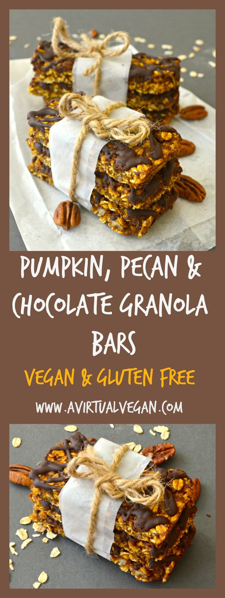 Deliciously soft & chewy, chocolate drizzled pumpkin & pecan granola bars. Vegan, gluten free & perfect for Fall!
