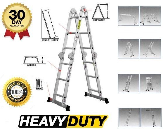 Ladder Extendable Aluminum Multi Purpose 12.5 FT Folding Step Scaffold Platform #LadderExtendable