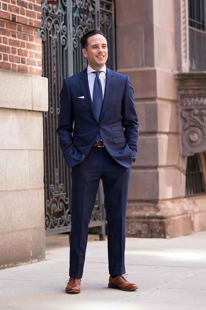 Lieblings Blauer Anzug Braune Schuhe Xtj98 Moetvoe