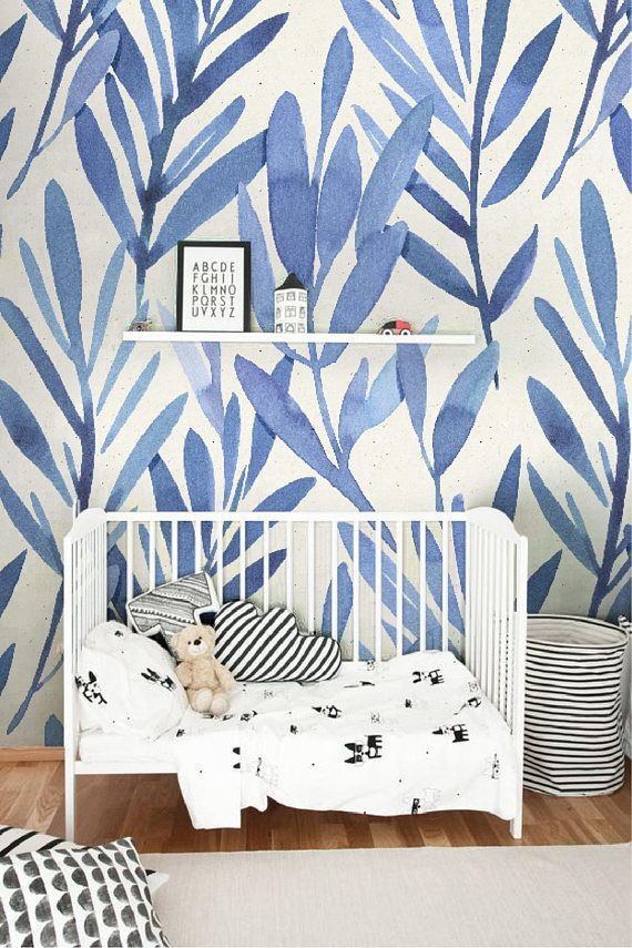 Wall Mural With Blue Watercolor Leaves Temporary Wall Mural