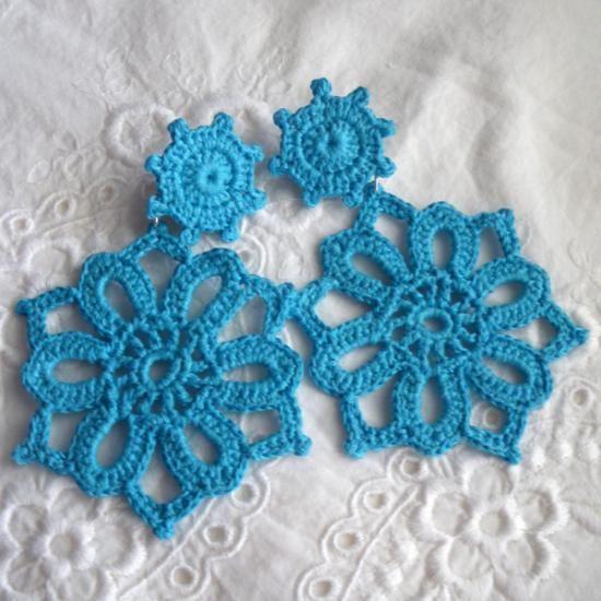 pendientes crochet con flor de 6 pétalos hilo de algodón,pendientes de metal ganchillo crochet,endurecido textil