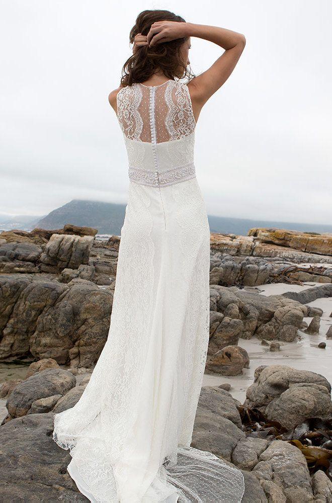 Rembo styling — Vintage — Tamara: Modernes Kleid aus Spitze, kombiniert mit Plumetis. Akzent an der Taille.