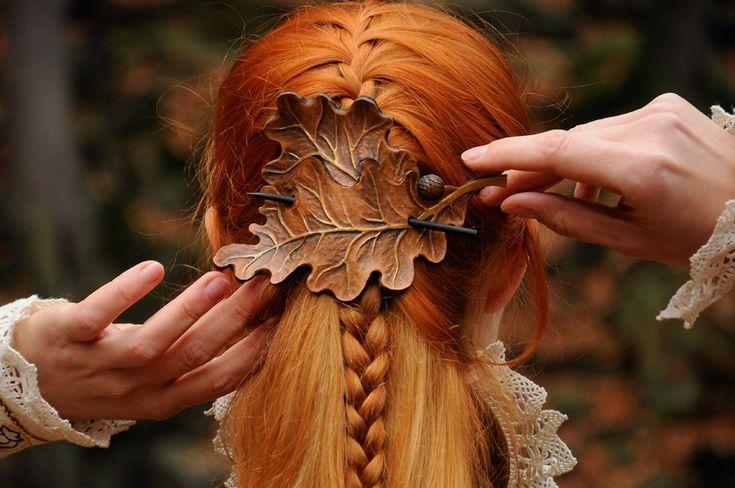OAK LEAVES leather barrette hair clip FOR SALE by SilverclockCostumes.deviantart.com on @DeviantArt