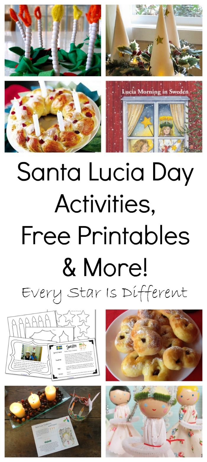 Santa Lucia Day activities, free printables, books, recipes and traditions to explore with children.