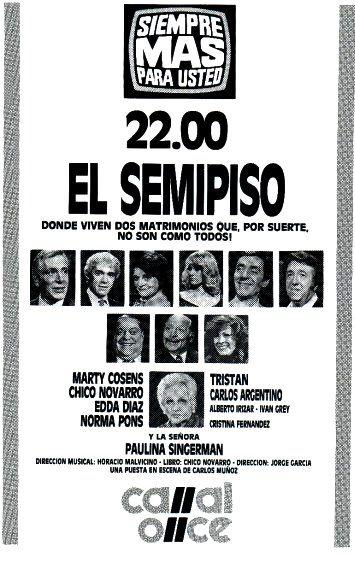 Publicidad de programación de CANAL 11, Buenos Aires, década del 70.