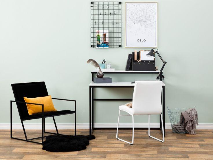 CARRIE Skrivbord i vit marmor, perfekt till det stilrena kontoret. Från Furniturebox.
