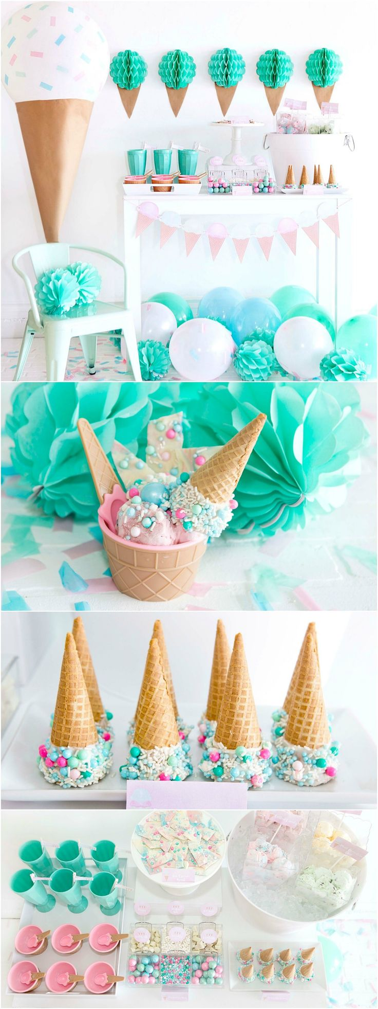 Ice Cream Party Ideas - Ice Cream Bar - Mint, Pink, and Aqua Girls Birthday Party - Ice cream Recipes and printables