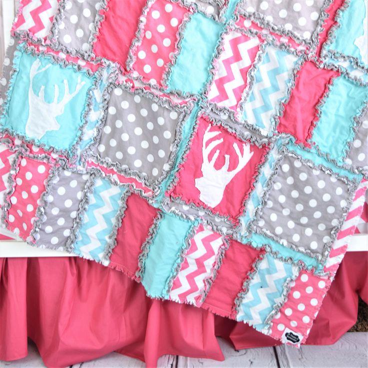 woodland crib bedding hot pink turquoise gray - Linge De Lit Pour Berceau Fille Mini