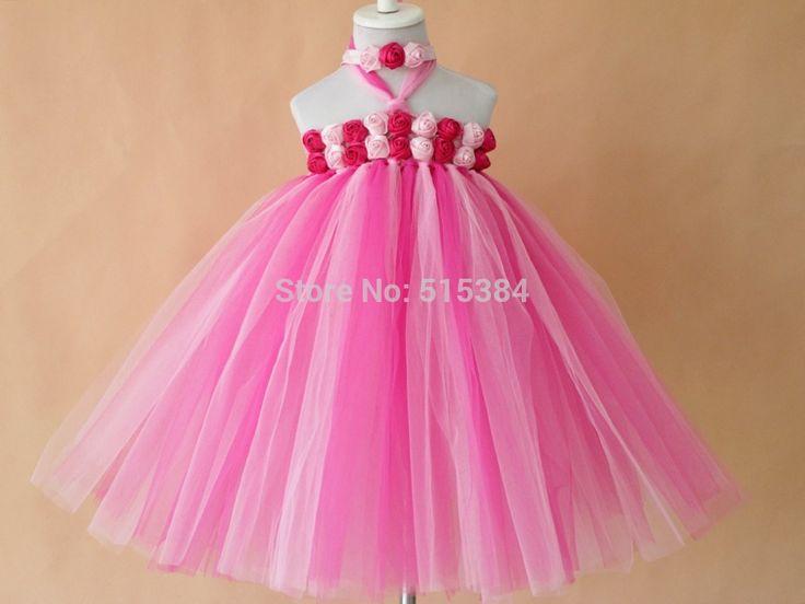 Розовый ярко розовый красивый ребенок детей девочек день рождения ну вечеринку пышное платье пачка новое поступление девочек розовый цветок платье бесплатная доставка
