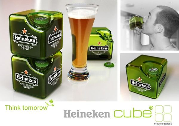In 2008, French design company Petit Romain came up with the Heineken Cube, a similar but cubed Heineken bottle designed to stack.