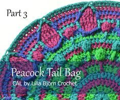 "Part 3 of Peacock Tail Bag CAL. Today you will finish ""peacock eyes"" with front post stitches. Free overlay crochet pattern by Lilla Bjorn #PeacockTailBagCAL"