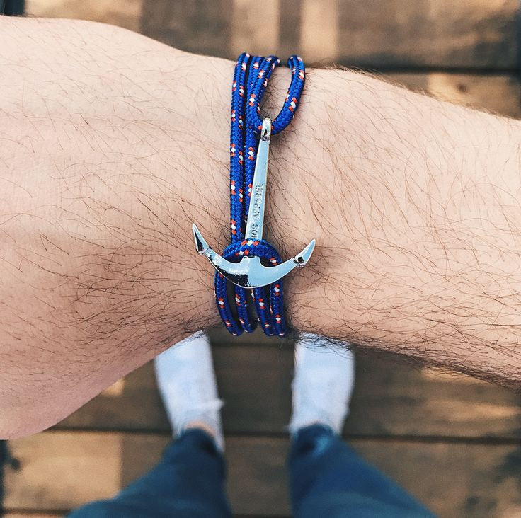 Royal Blue Anchor Bracelet - Men Women Preppy Pharos Apparel Accessories Style