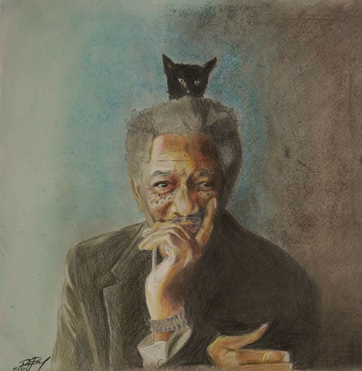 Color pencil drawing Morgan Freeman