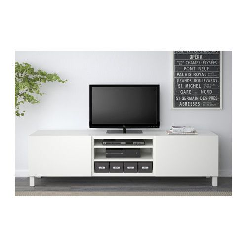 £141 ///  BESTÅ TV bench with drawers - Lappviken white, drawer runner, soft-closing - IKEA