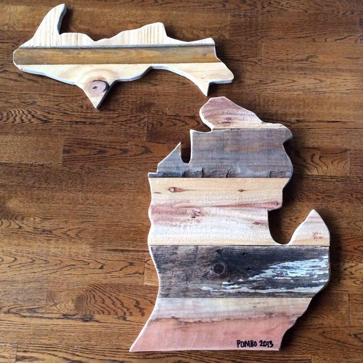 Michigan. Made by Pombo Art. Custom 2ft reclaimed wood ( order: avepom@ - Best 61 Pombo Art {salvaged Wood} Images On Pinterest Art