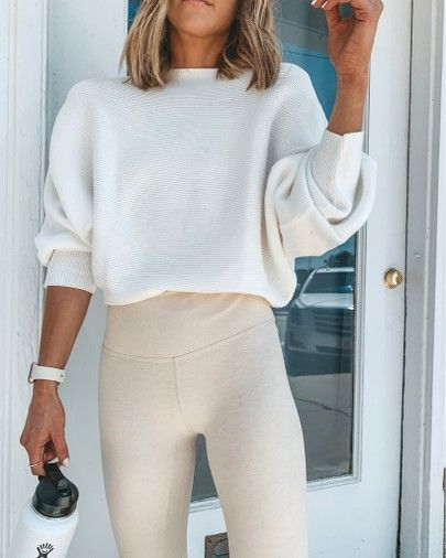 amazon sweater // slouchy fit ribbed sweater // white on cream // thick light co... 2