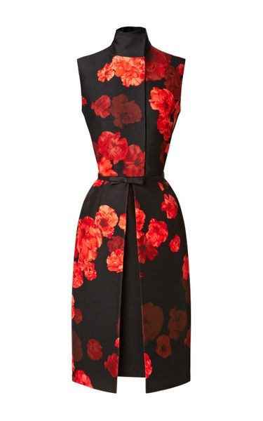 Wool Blend Floral Printed Dress by Giambattista Valli