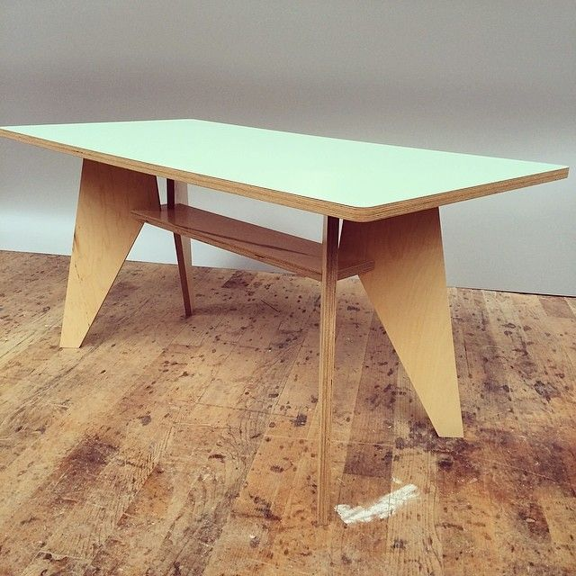 Maple plywood table with Robin laminate made by Kerf Design. kerfdesign.com